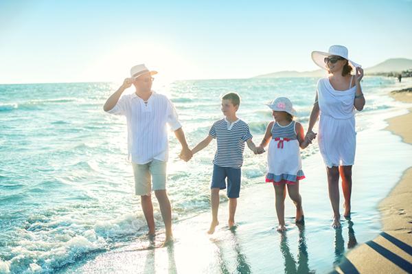 familj pa strand