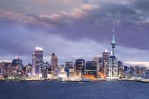Auckland Skyline Twilight - Auckland, New Zealand's largest city, under a dramatic twilight sky.