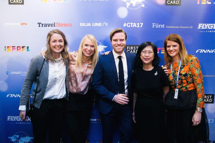 Madeleine Svantesson och Theres Birger från SAS, Jacob Nordendahl, Etraveli Smart Media, Veena Bohlin, Tourism Thailand, och Sofi Cederlöf Etraveli Smart Media. Foto: Olof Grind