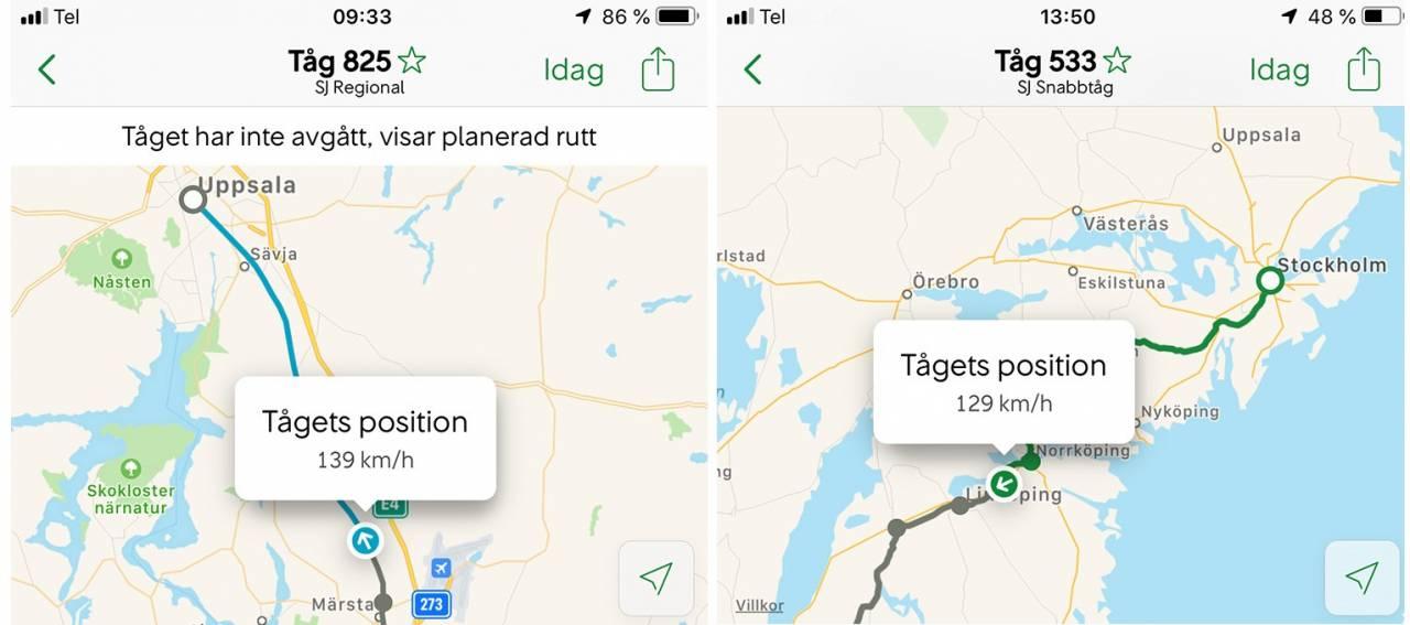 Karta Tyskland Tag.Sj Slapper Realtidskarta Over Alla Tag Travel News